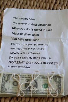 With Strings Attached - cute cash gift idea for Birthday Creative Money Gifts, Cool Gifts, Unique Gifts, Gift Money, Gag Gifts, Craft Gifts, Funny Gifts, Wrapping Ideas, Gift Wrapping