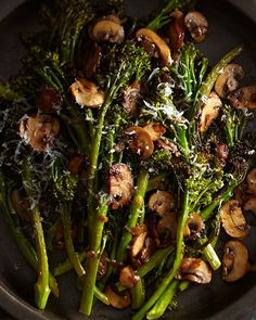 Roasted Broccolini with Winey Mushrooms from Laura Russell's book 'Brassicas' - http://www.sweetpaulmag.com/food/my-happy-dish-roasted-broccolini-with-winey-mushrooms-from-laura-russells-book-brassicas #sweetpaul