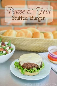 ... and feta cheese stuffed burger using Nikos Feta and a burger press