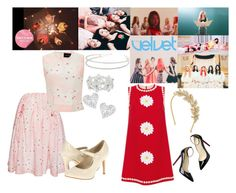 """""""Red Velvet  - One of these nights"""" by marissa-malik ❤ liked on Polyvore featuring Simone Rocha, Fitzwell, M&Co, Vivienne Westwood, Jennifer Behr, Christian Louboutin and Dolce&Gabbana"""