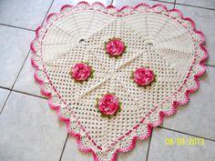 tapete de croche coração com flores passo a passo - Pesquisa Google