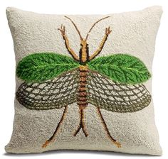 Leaf Insect Throw Pillow: Our Insect Throw Pillows are a rare and wonderful find. These magnificently plush, whimsically scaled throw pillows make an instantly comfortable and vibrant embellishment in a room.     Hand-hooked wool front.     Enticing, velveteen cotton back.     Plush polyester filler.     Hidden zipper.Imported. 18