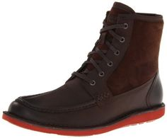"""Rockport Men's Eastern Standard Hi Moc Lace-Up Boot Rockport. $64.58. Rubber sole provides a durable grip. Full grain leather is soft,supple and flexible. Shaft measures approximately 8"""" from arch. leather. Genuine shearling lining for warmth. Ethylene vinyl acetate provides lightweight shock absorption to reduce foot and leg fatigue. Rubber sole"""