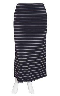 Weyre - dove stripe maxi skirt TOWANDA womenswear - plus size designer fashion boutique women's clothes shop.