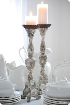 ❥ pure white love  I love the rusty tart tins sitting on top so that bigger candles can be used!