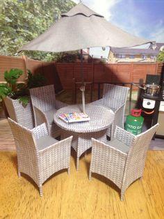 Dolls House Ooak Miniature Handmade Modern Set Of 7 Grey Rattan Look Garden Conservatory Furniture Accessories 1 12 Scale