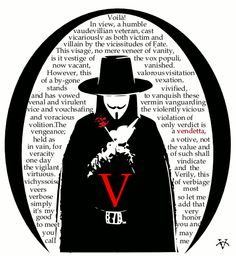 V for Vendetta. Give me an intellectual and eloquent character and I will be hooked. This introductory monologue by V was the very moment I knew that I would love this movie. V Speech, Resident Evil, V Pour Vendetta, Ideas Are Bulletproof, The Fifth Of November, Vox Populi, Favorite Quotes, My Favorite Things, Internet Memes