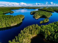 Buy Aerial view of blue lakes and green forests on a sunny summer day in Finland. by nblxer on PhotoDune. Aerial view of blue lakes and green forests on a sunny summer day in Finland. Quebec, Finland Facts, Finland Travel, Short Break, Drone Photography, Countries Of The World, Helsinki, Aerial View, Wanderlust