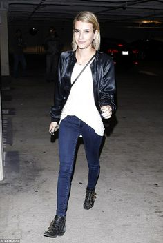 Emma Roberts wearing Chloe Flat Studded Boots Proenza Schouler Lunch Leather Shoulder bag