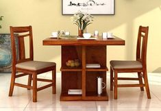 Ralph 2 Seater Dining Set with Storage (Honey Finish) 2 Seater Dining Table, Luxury Dining Tables, Rattan Dining Chairs, Solid Wood Dining Table, Dining Table In Kitchen, Dining Room Sets, Dining Room Furniture, Table And Chairs, Counter Height Pub Table