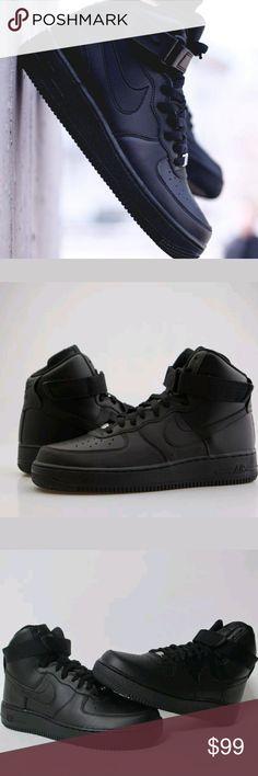 Mens Nike Air Force 1 high Been hittin' the books hard this semester or working a lot of hours but need to take a much needed break? Ok, well here's the perfect shoe for all seasons and all occasions. Stomp in the triple black air force 1 this fall and have yourself a blast.    Men's Nike Air force 1 high sz 10.5 Black color way Brand new in box 100% authentic New never worn Nike Shoes Sneakers