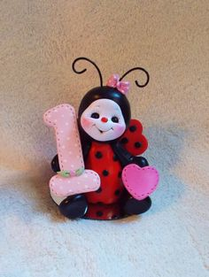 ladybug cake topper Christmas ornament  polymer clay personalized childrens gift 1 1st first birthday. $25.95, via Etsy.