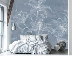 Simple Creative Lily Wallpaper Wall Murals, Living Room Modern Wall Painting Brown Blue Nordic Art Flower Wall Decals Wall Stickers - Best Painting Ideas For Beginners Living Room Modern, Living Room Decor, Bedroom Decor, Wall Decor, Modern Living Room Wallpaper, Living Rooms, Modern Wall Paint, Lily Wallpaper, Flower Wall Decals