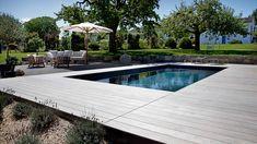 Poolanlage in parkartigen Garten integriert mit Sitzlounge und Holzterrasse. Design by schmidgarten. Blue Tones, This Is Us, Elegant, Luxury, Armada, Outdoor Decor, Touch, Design, Deep Blue