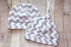 Grey Chevron Baby Hat Gray Knit Beanie Baby Top Knot by JuteBaby, $15.00