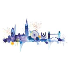 London Skyline Art Print by Summer Thornton at King Frames For Canvas Paintings, Painting Prints, Canvas Wall Art, Wall Art Prints, Skyline Painting, Skyline Art, Skyline Von London, Cityscape Wallpaper, London Wall
