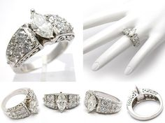 Marquise Cut White Gold Engagement Rings Enhancers 4