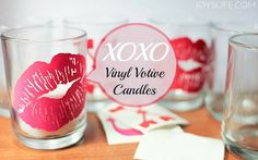 How to use vinyl to create simple Valentine themed votive candle decor!