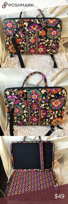 Vera Bradley Suzani Laptop bag briefcase Gently used, Excellent condition, hard to find item in Suzani pattern  includes spacer bar with velcro for positioning to hold in your size laptop Vera Bradley Bags Laptop Bags
