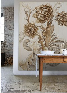 I'm totally crushing on mural wallpaper, and as much as I'm inclined to change things up around our home I think I love it enough to . Vibeke Design, Interior And Exterior, Interior Design, Wall Finishes, Of Wallpaper, Wall Treatments, Interior Inspiration, Sweet Home, House Design