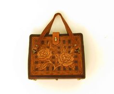 1970s hand tooled leather bag