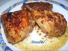 Receta Plato : Pollo al horno con mostaza y miel por Anabel