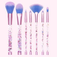 The best cruelty free and vegan makeup brushes from Lime Crime. These makeup brushes with glitter filled handles are all you need to complete the mermaid makeup look.