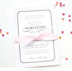 Zaproszenia na chrzest Baptism invitations / pink stripes and grey