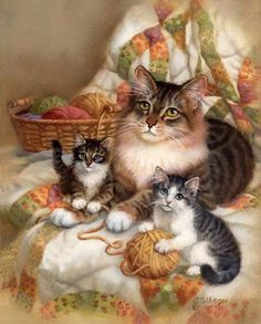 tabby tuxedo mom cat and matching kittens with yarn and quilt - JudyGibson