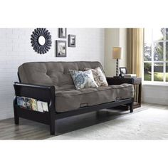 """Better Homes and Gardens Wood Arm Futon with 8"""" Coil Mattress, Taupe - Walmart.com"""