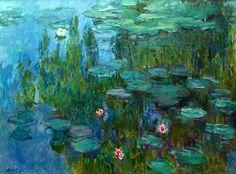 Claude MONET WATER LILIES,  BLUE REFLECTION