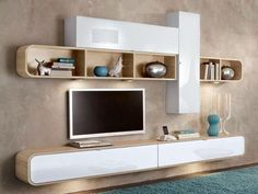 TV cabinets, cabinets and storage units, TV wall composition COBRA white and oak design Modern Tv Unit Designs, Modern Tv Wall Units, Tv Unit Decor, Tv Wall Decor, Wall Tv, Tv Unit Furniture, Furniture Storage, Modern Furniture, Furniture Design