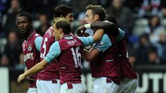 #hammers Kevin #Nolan (West Ham United FC)  Kevin Nolan of West Ham United FC is congratulated by his team-mates after scoring the opening goal during an English Premier League match against Newcastle United FC