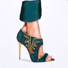 Your Limitation: It is only your imagination! arts by - Women Trends Cute Shoes, Me Too Shoes, Emerald Green Gown, Stiletto Heels, High Heels, Jeweled Shoes, Green Heels, Girls Heels, Shoe Art