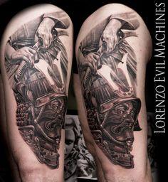Realistic Black and Gray Portrait Tattoo - Eye - Samurai - Bushido - Katana - Honour - Kimono - Mask - Fury - Tattoo by Lorenzo Evil Machines Tattoo - Roma - Italia Tattoo Roma, Samurai, Ems Tattoos, Scar Cover Up, Black And Grey, Gray, Irezumi, Katana, Piercing