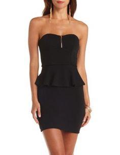 textured zip-up strapless peplum dress