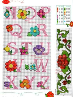 Beautiful patterns with small flower patterns for … – Embroidery Desing Ideas Cross Stitch Cards, Cross Stitch Alphabet, Cross Stitch Flowers, Counted Cross Stitch Patterns, Cross Stitch Embroidery, Plastic Canvas Letters, Alphabet Design, Flower Patterns, Just In Case