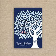 Wedding Tree Guest Book Alternative for 75 by MooseberryPrintShop