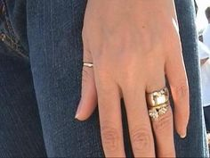 I like the look of the thin engagement ring with the wide band.