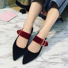 2017 New Spring Summer Women Fashion Buckle Pointed Toe Flat Shoes Flock Ladies Flats Loafers Brown Casual Womens Shoes WO055