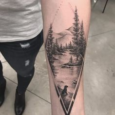Tree and Mountain Landscape Tattoo - Tattoo For Women To Make You Appear Thoughtful and Meaningful Pretty Tattoos, Cute Tattoos, Body Art Tattoos, Small Tattoos, Bird Tattoos, Feather Tattoos, Tatoos, Sleeve Tattoos For Women, Tattoo Sleeve Designs