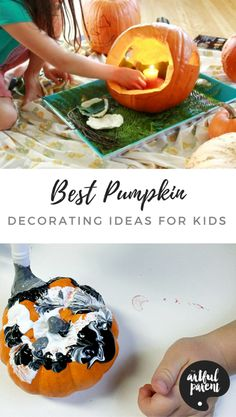 The best pumpkin decorating ideas for kids that are easy & age appropriate. Try these fun pumpkin decorating ideas by age (for younger and older children). Halloween Arts And Crafts, Halloween Activities For Kids, Art Activities For Kids, Crafts For Kids To Make, Creative Activities, Halloween Kids, Art For Kids, Painting Activities, Creative Kids