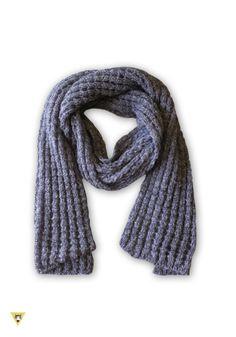 sciarpa lavorazione rete, in lana mohair, colore grigio