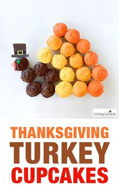 Cute Turkey Cupcakes for a creative Thanksgiving dessert! Wow your dinner guests with this simple pull apart cake recipe idea. LivingLocurto.com
