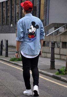 Vintage Unisex Mickey & Friends Light Blue Denim Shirt