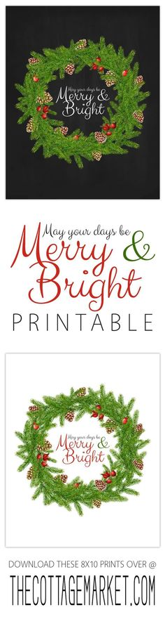 Free Christmas Printable /// May Your Days be Merry and Bright 8×10 Print