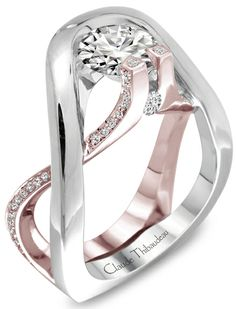 White and rose gold diamond ring.