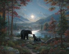 Bedtime Kisses by Mark Keathley ~ mother bear  her cubs moonlight lake