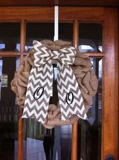 Monogrammed wreath Burlap wreath Initial by Wreath Burlap, Monogram Wreath, Wreaths For Front Door, Door Wreaths, Ribbon Colors, Wreath Ideas, Initials, Teacher, Sweet