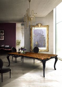 This dining room design includes contemporary furniture from Boca do Lobo and DelightFULL. The Royal dining table is made of wood in a baroque and minimalist. Luxury Dining Tables, Wooden Dining Tables, Dining Table Design, Modern Dining Table, Elegant Dining, Dining Chairs, Dining Decor, Dinning Table, Wooden Desk